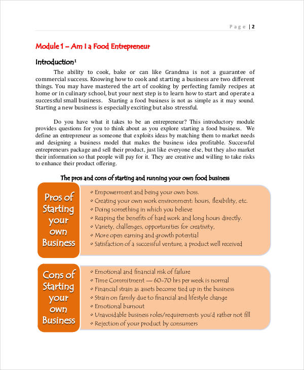 food business proposal sample