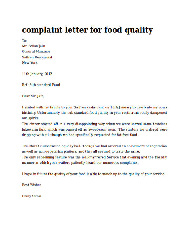 30 complaint letter examples samples pdf doc food quality complaint letter thecheapjerseys Image collections