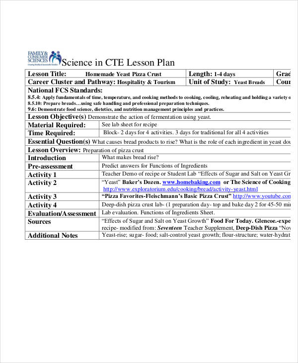 food science lesson plan