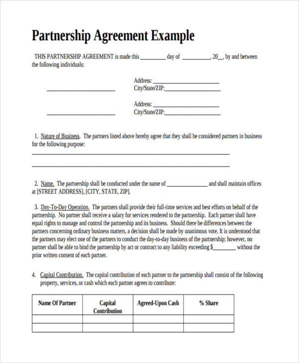 Business Partnership Contract Sample. Free Partnership Agreement