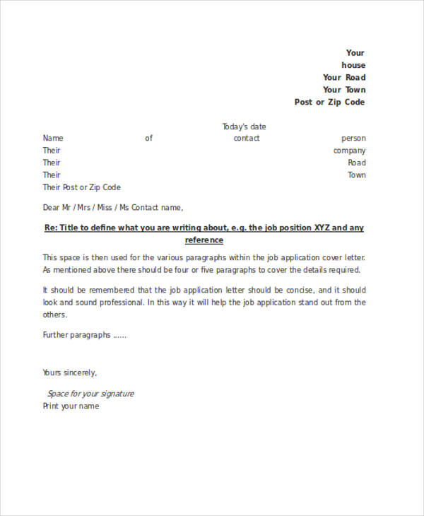 formal job application letter - Cover Application Letter For Job