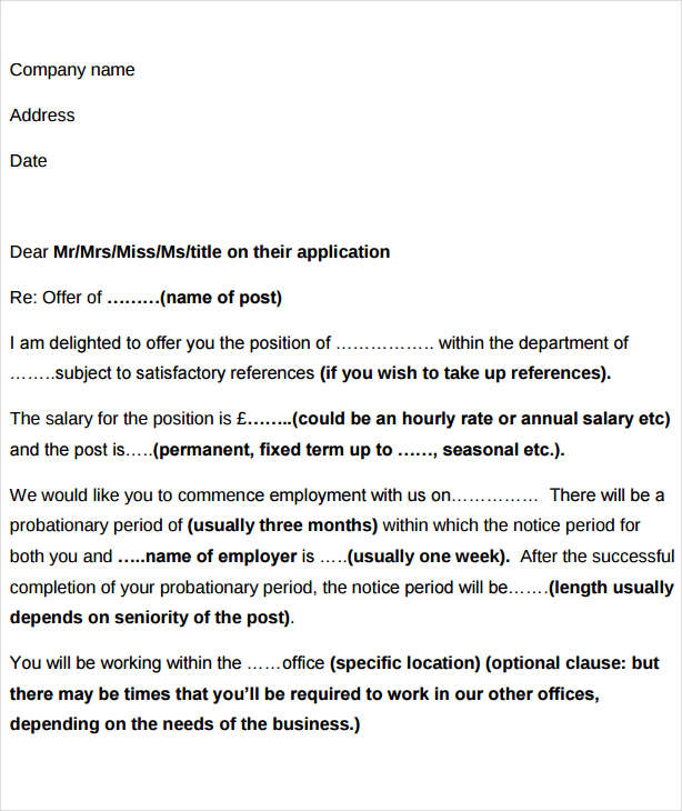 formal job offer letter