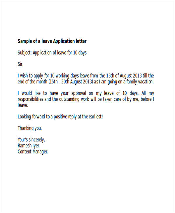 46 Application Letter Examples – Application for Leave