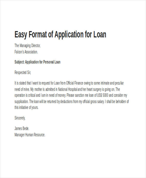 formal loan application letter