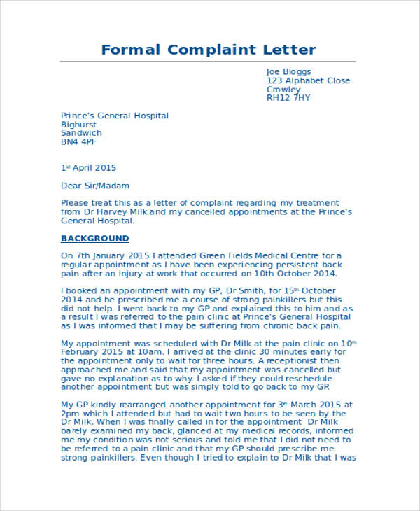 30 complaint letter examples samples pdf doc formal medical complaint letter spiritdancerdesigns Choice Image