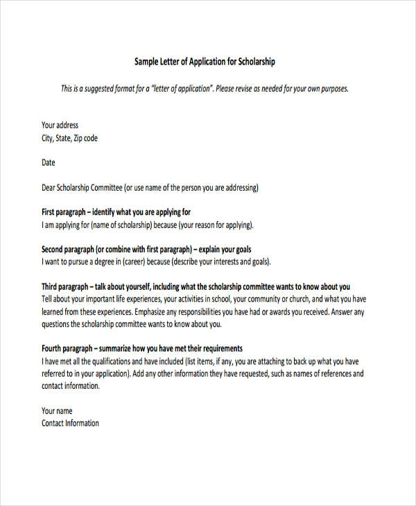 Formal Scholarship Application Letter