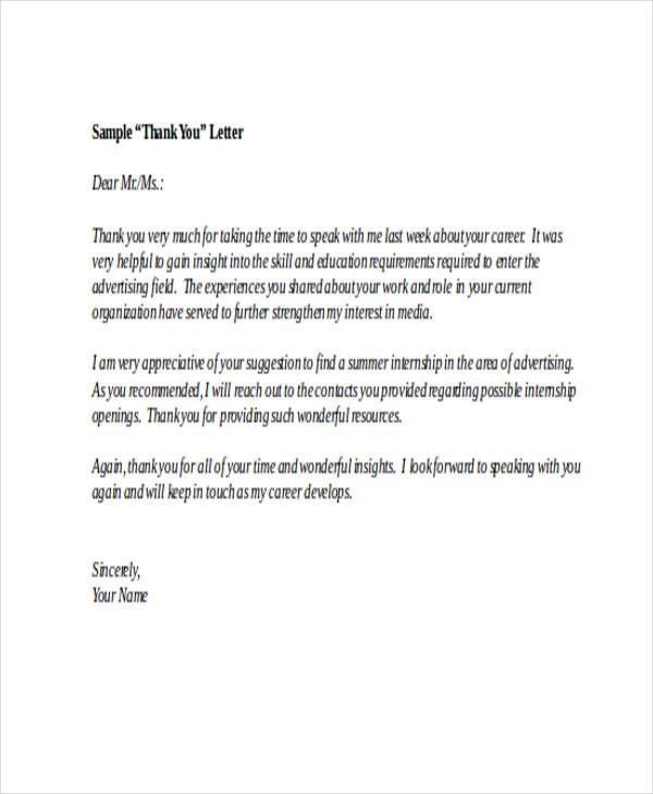 69 thank you letter examples formal thank you letter for internship expocarfo Images