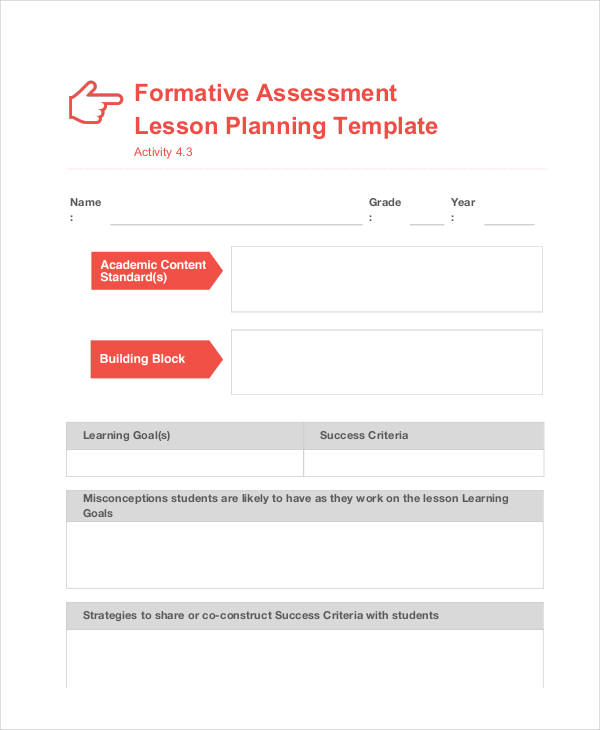 formative assessment lesson plan