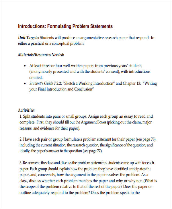 problem statement sample research paper