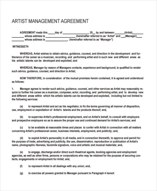 Management Agreement Examples And Samples - Talent management contract template