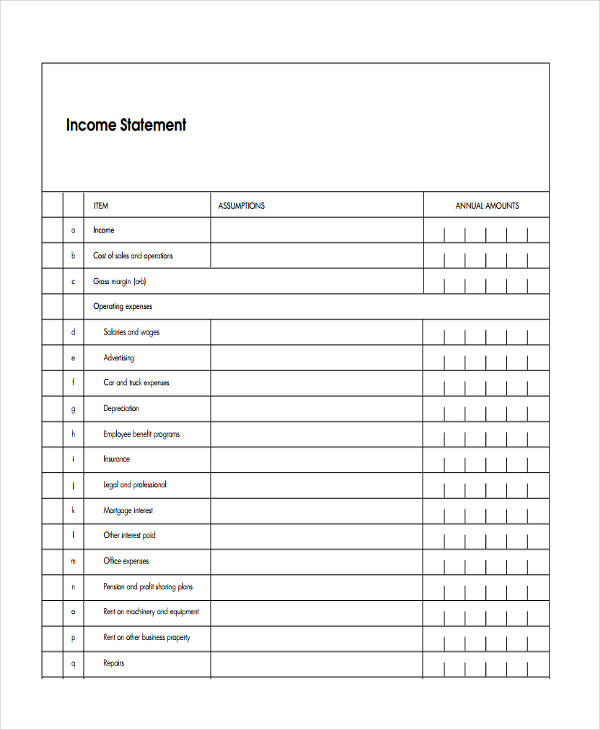 Blank Income Statement Template  Blank Income Statement