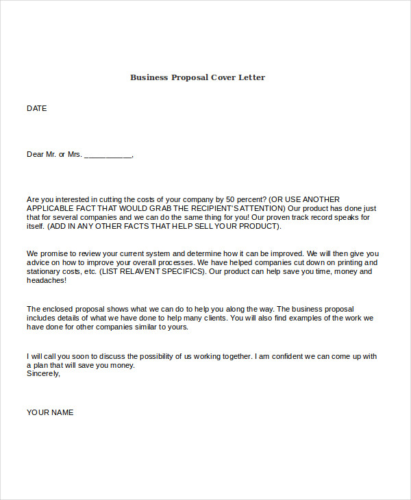 Free Business Proposal Cover Letter  Product Sales Proposal Template