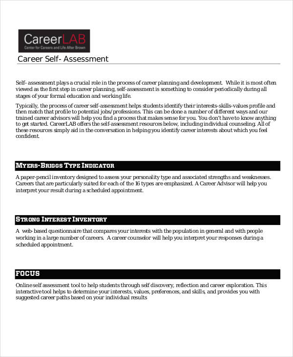 free career self assessment