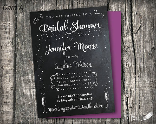 Free Chalkboard Bridal Shower Invitation