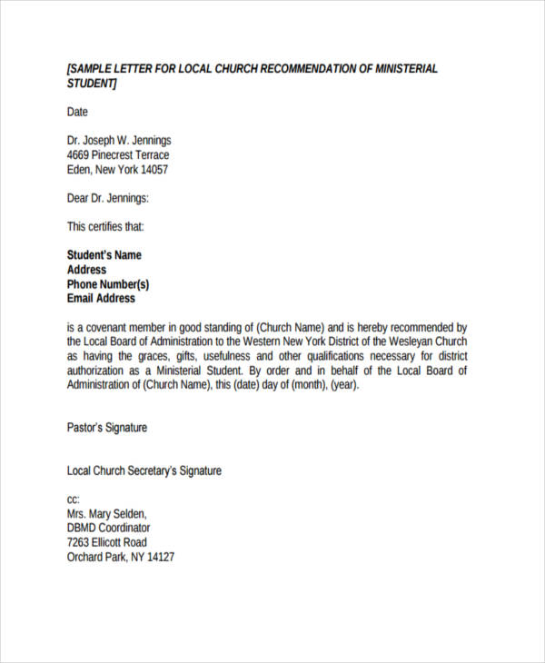 Free Church Recommendation Letter