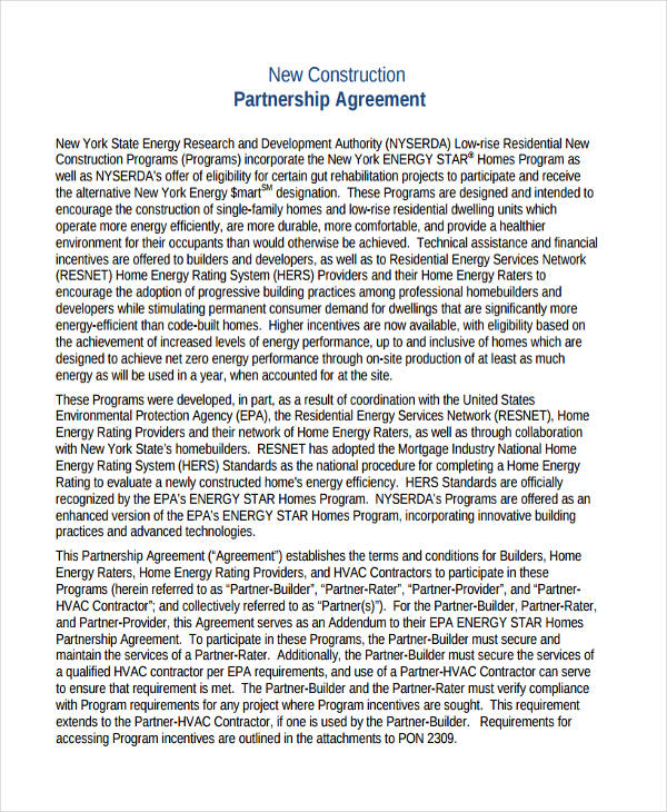 free construction partnership agreement