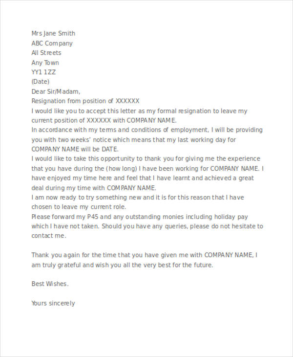 free formal two weeks notice letter