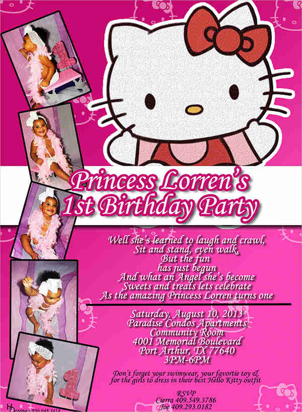 Birthday Invitation Designs Examples PSD AI Vector EPS - Free hello kitty birthday invitation templates