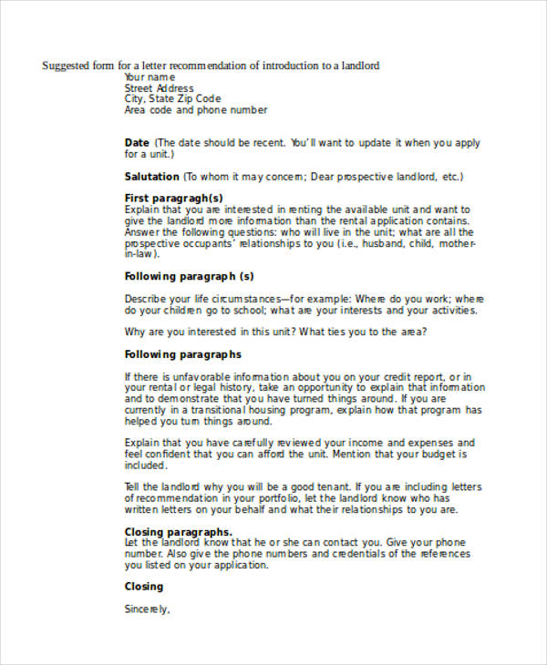 Landlord Recommendation Letter. Reference Letter For Landlord