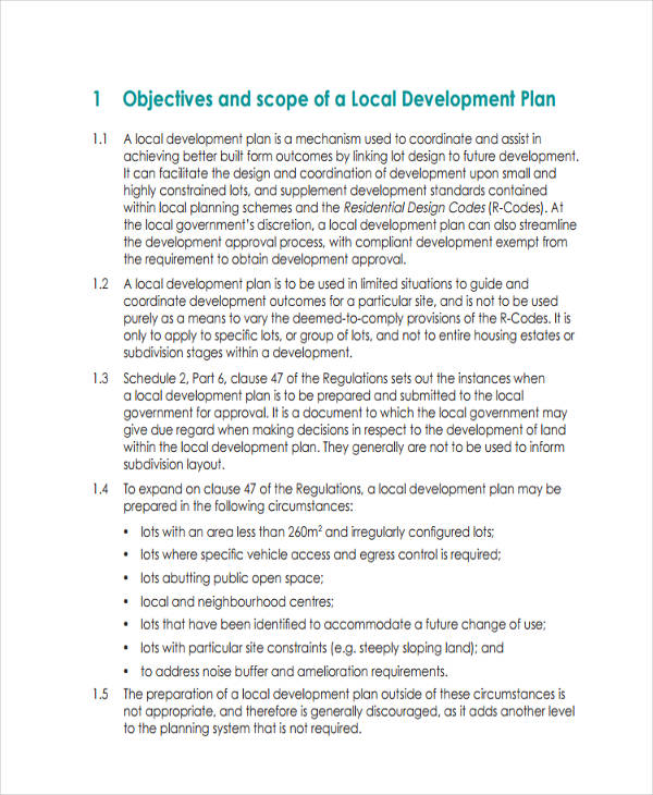 free local development plan