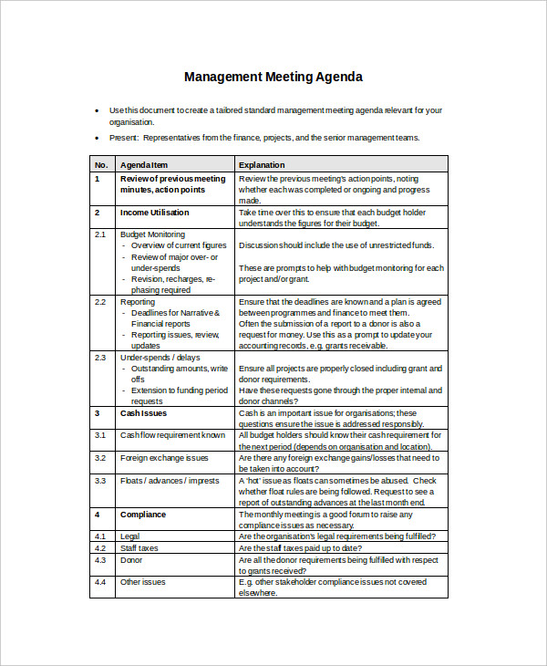 free management meeting agenda