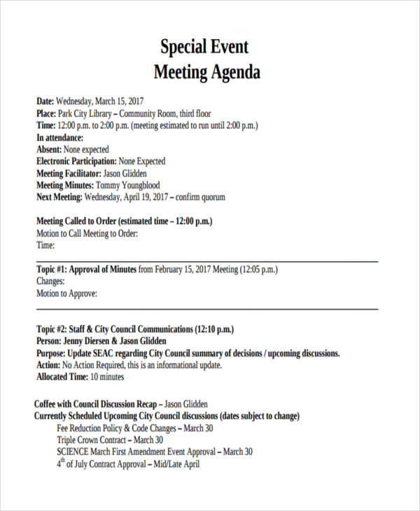 free meeting event agenda