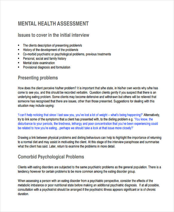 free mental health assessment