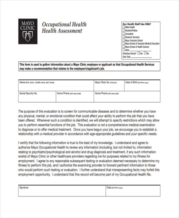 free occupational health assessment