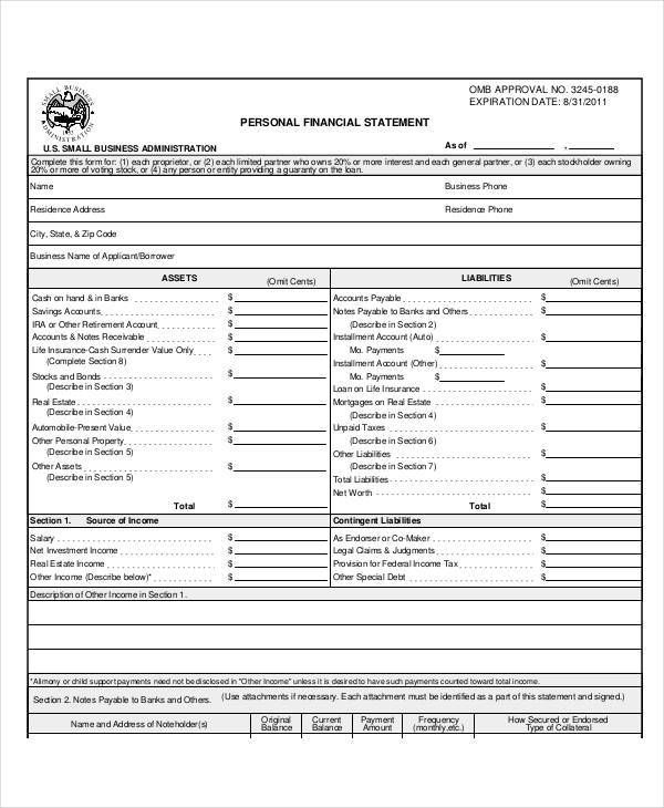 Financial Statement Examples Samples - Personal financial records template