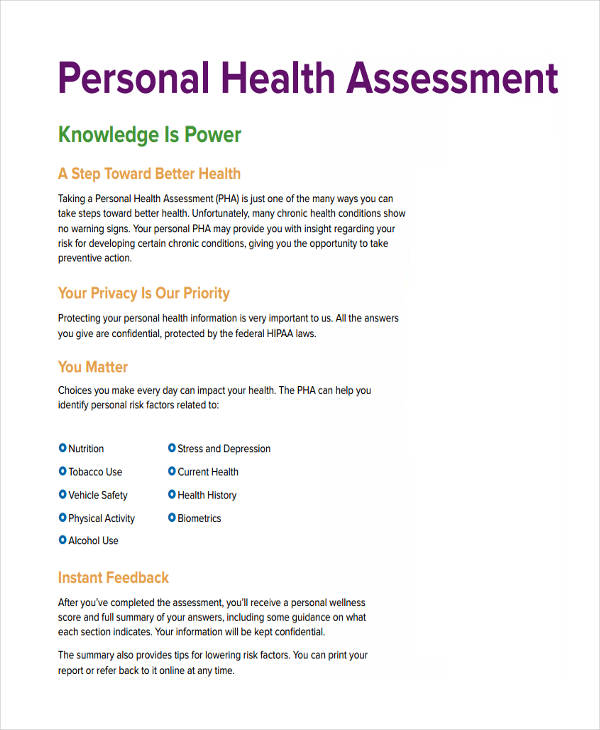 free personal health assessment