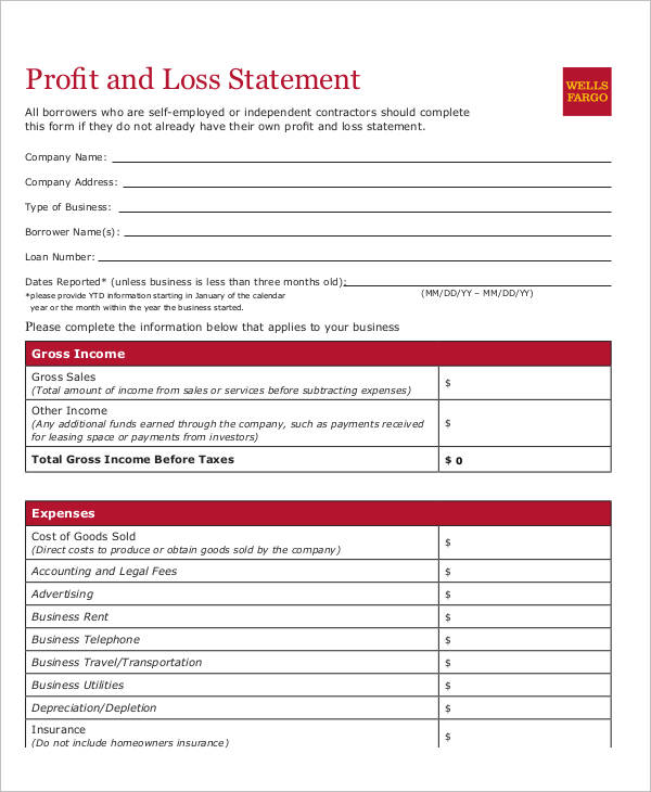 Free Personal Profit And Loss Statement