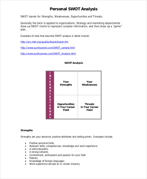 Swot Analysis Examples  Samples