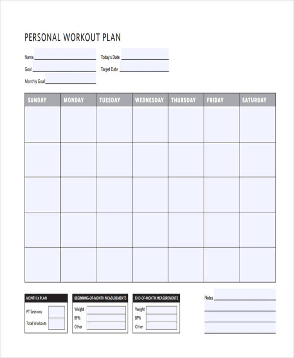 free personal workout plan