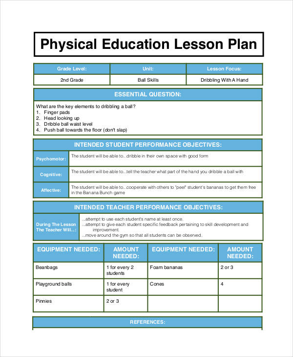 Examples Of Lesson Plans - Pe lesson plan template