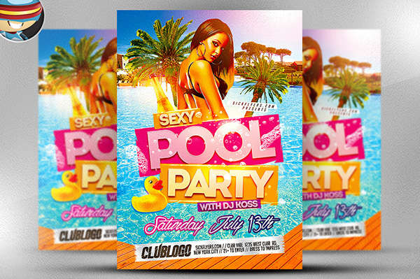 free pool party flyer