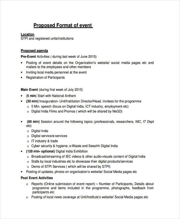 Free Proposed Event Agenda  Format For An Agenda