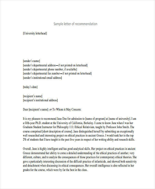 free recommendation letter for student