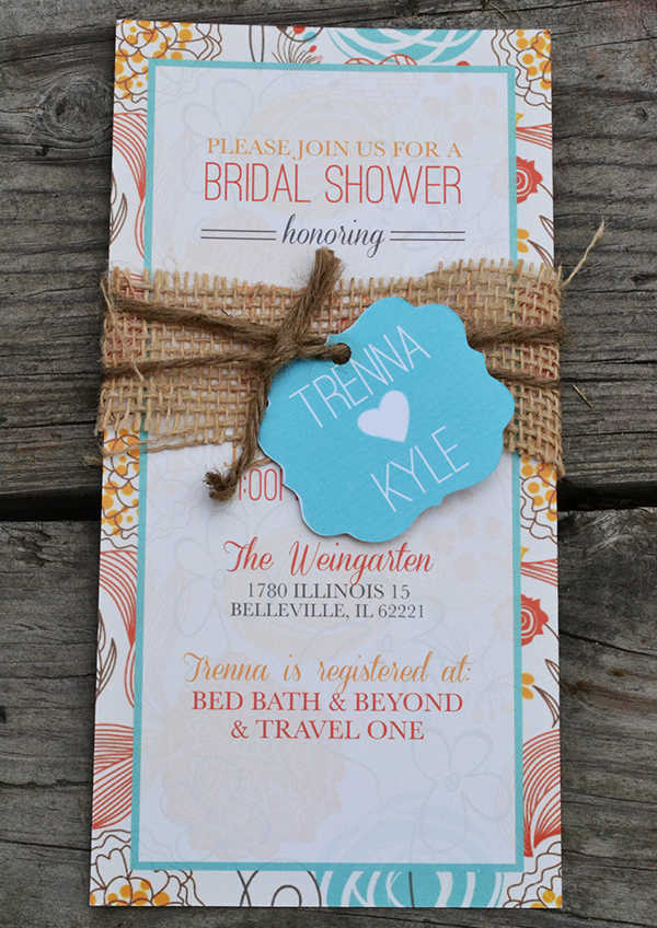 free rustic bridal shower invitation