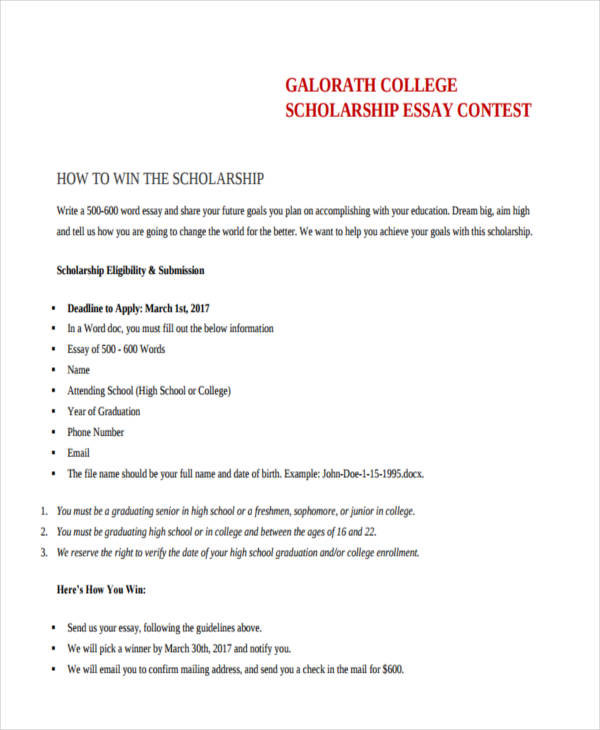 Writing essay for scholarship application college