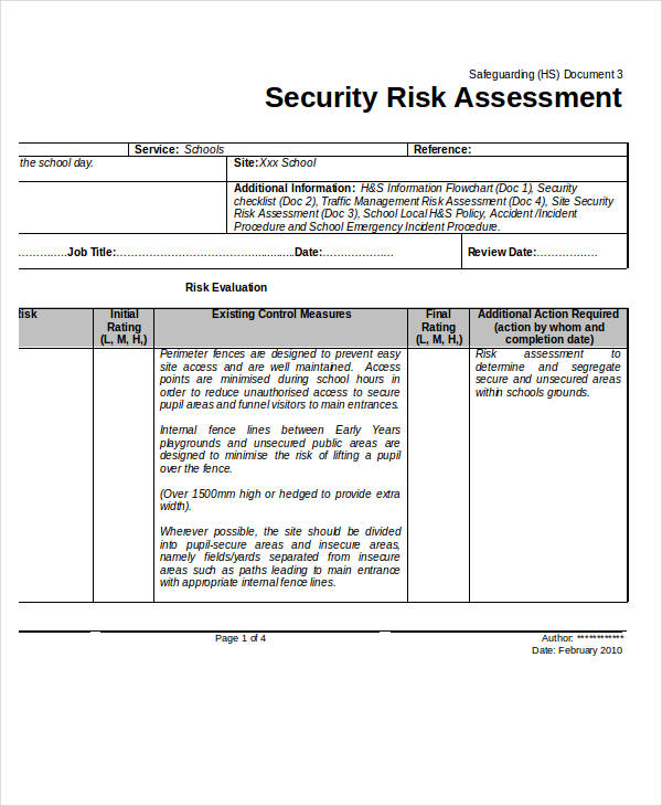 Information security risk assessment template image for Risk assessment security survey template
