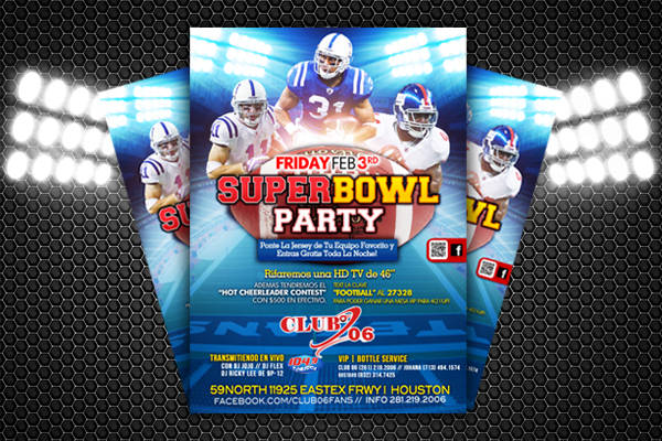 free super bowl party flyer