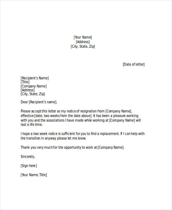 Two Weeks Notice Letter  Two Week Notice Letter