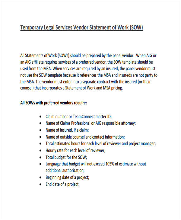 free vendor statements of work