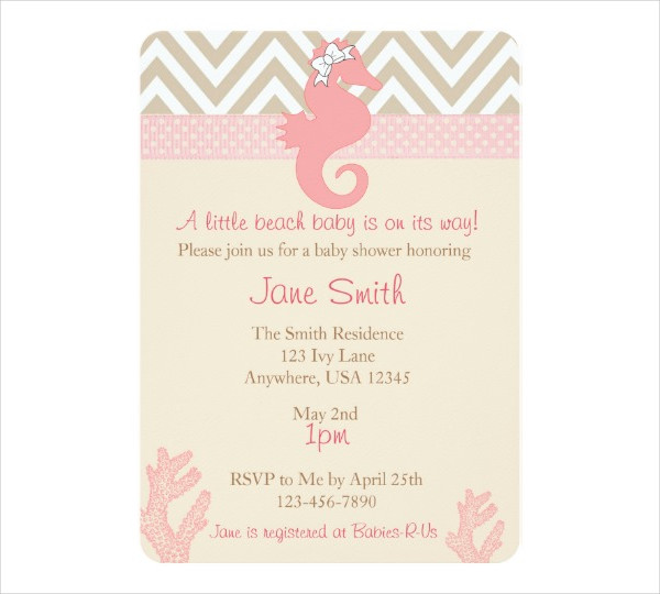 Free beach Baby Shower Invitation