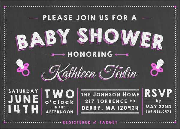 free chalkboard baby shower invitation