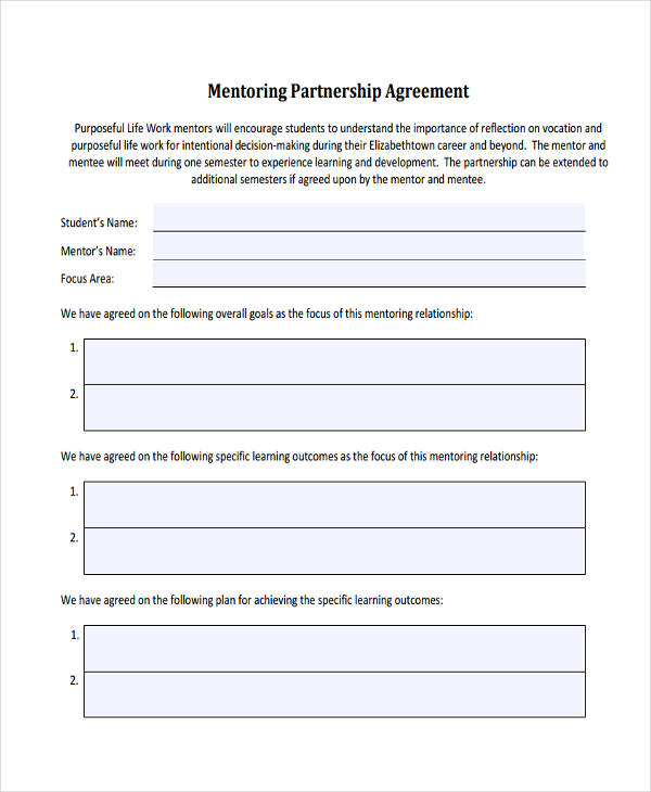 free mentoring partnership agreement