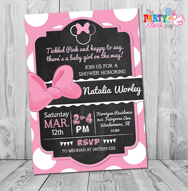 Free minnie Mouse Baby Shower Invitation
