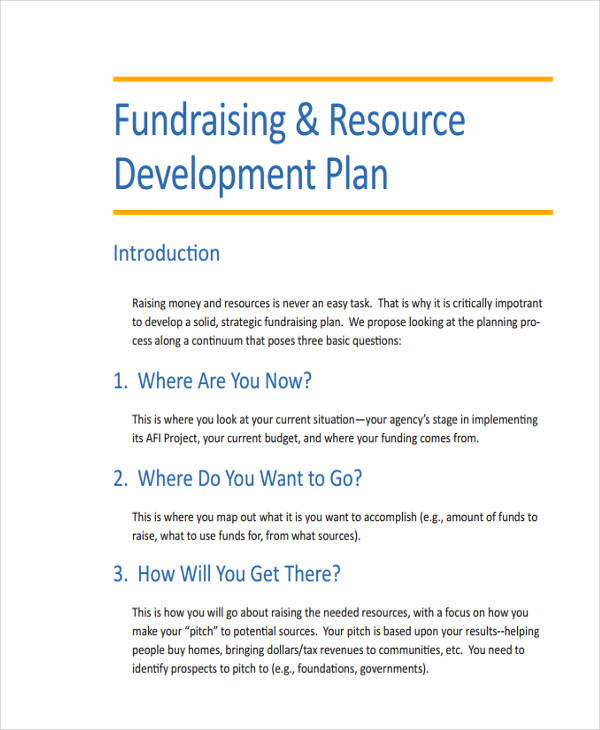 fundraising resource development plan