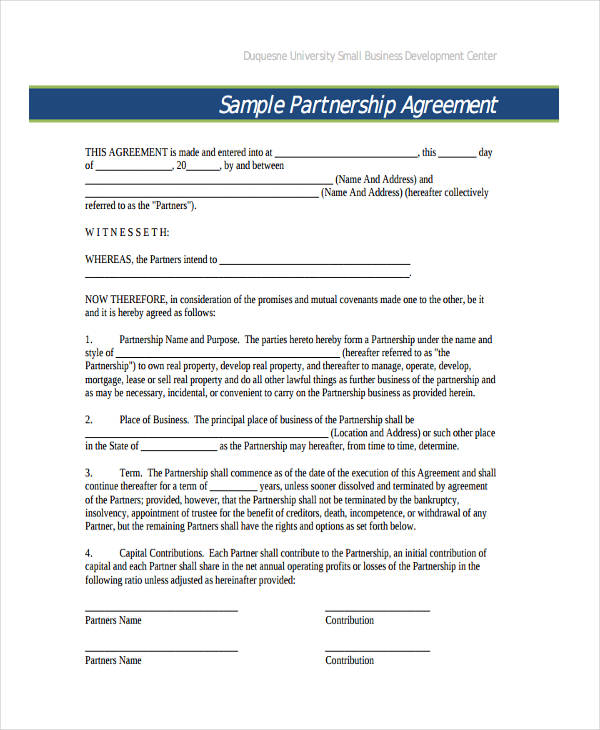 General Business Partnership Agreement  Partner Contract Sample
