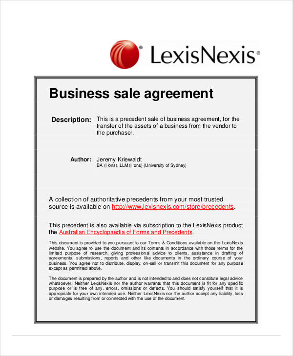 general business sale agreement